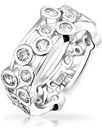 Bling Jewelry Sterling Silver Bezel Set Bubbles Cubic Zirconia Ring