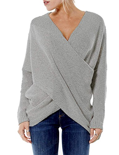 ZEARO Damen Pullover Winter Casual Long Sleeve Loose Strick Pullover Sweater Top Outwear