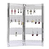 Zice 120porta orecchini gioielli gruccia organizer pieghevole in acrilico orecchino display espositore da appendere orecchini, braccialetti e collane e Acrilico, colore: Clear, cod. JH120E