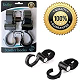 Stroller Hook, 2 Pack Set, Black, These Multi-Purpose Stroller Hooks, Are Great Accessories For Mommy When In A Shopping Mall, Picnic, Backstreet, Jogging Park, Grate For Hanging Diaper Bags, Shopping Bags