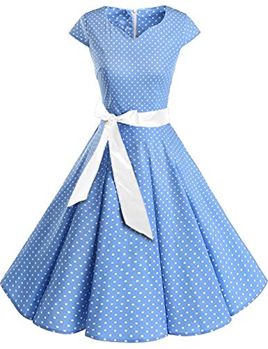 Octopus Damen Rockabilly Kleid Petticoat Partykleid Cocktailkleid (K2) f5471 Farbe: Kleid Hellblau Weiss K2(hellbl-w) Gr. 42 (XL) (Rockabilly Happy Halloween)