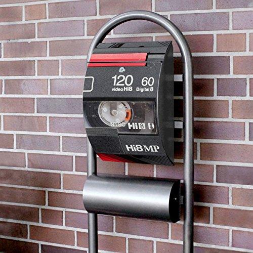 banjado – Design Stand Briefkasten mit Zeitungsrolle Metall schwarz 44x150x14cm mit Motiv Video Kassette - 2