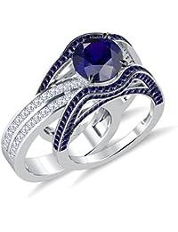 Silvernshine 5ct Princess & Round Sapphire Sim Diamonds Interchangable Ring With Band White Gold PL
