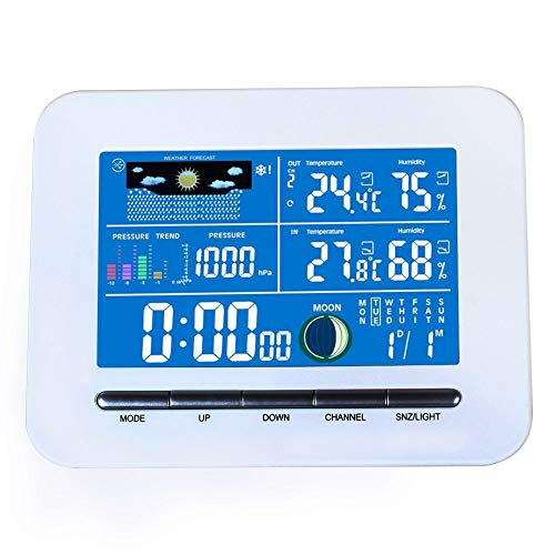 JKHESDF Hochwertigen Tragbaren Drahtlosen LCD-digitalanzeige Wetterstation Indoor Thermometer Luftfeuchtigkeit Uhr für Home-Office-Einsatz -