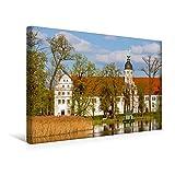 Premium Textil-Leinwand 45 cm x 30 cm quer, Blick über den Inselteich zum Alten Schloss Zabeltitz | Wandbild, Bild auf Keilrahmen, Fertigbild auf im Landkreis Meissen (CALVENDO Orte)