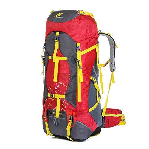 Groß Kapazität Im Freien Bergsteigen Tasche Sport Tourismus Wasserdichter Rucksack Red