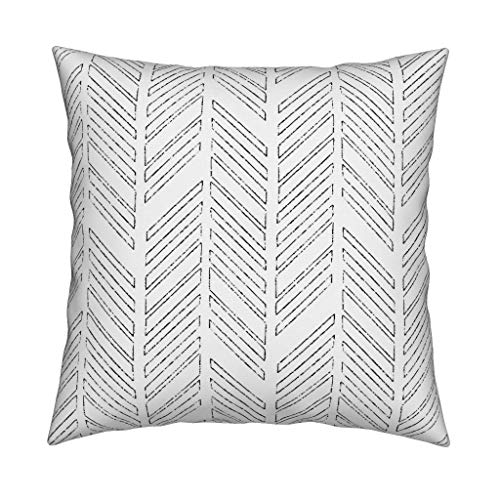 EstherBur87 Chevron Throw Pillow Distressed Chevrons by Red Surpberry Survive Designs Herringbone 18x18 Square Throw Pillow