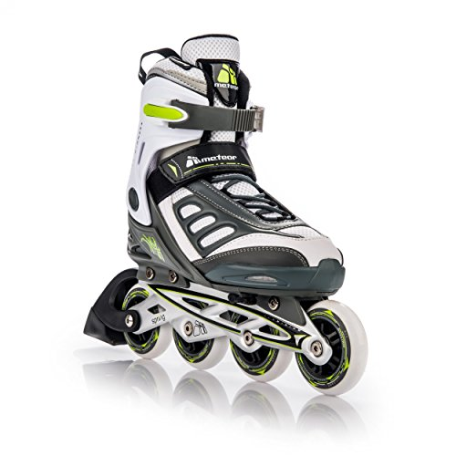 METEOR SPRING Inline Skates | Kinder | Damen | Herren | Größenverstellbar: 32-35 / 36-39 / 40-43 | ABEC 7, Größe:S (32-35);Farbe:white / green