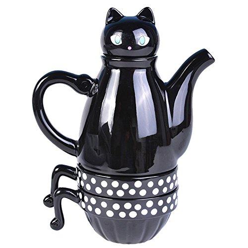 Keramik Katze Kaffeetasse Dreiteilige Becher Geschirr (schwarz)