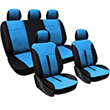 WOLTU AS7288bl Schonbezüge Auto Sitzbezüge Sitzschoner Sitzbezug Auflage für PKW ohne Seitenairbag, Kunstleder, schwarz-blau
