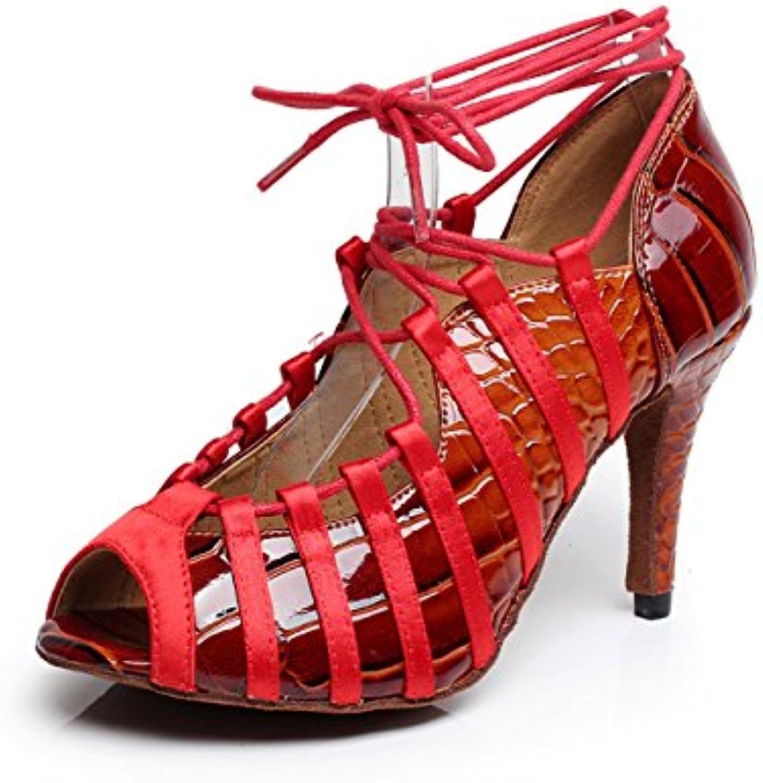 JSHOE Salsa/Tango/Tea/Samba/Modern/Jazz Shoes Sandalias Tacones Altos Para Mujer,Red-heeled8.5cm-UK5/EU37/Our38
