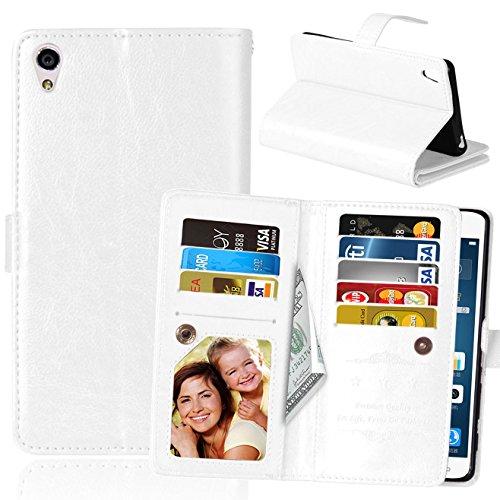 Flip Sony Xperia XA Fall Folio Case Solid Farbe Premium Synthetik-Leder-Kasten-Standplatz-Mappen-Kasten-Kasten mit 9 Karten-Bargeld-Slots für Sony Xperia XA ( Color : Black , Size : Sony Xperia XA ) White