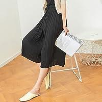 WJP Pantalones de pierna ancha de cintura alta La Xia Beier verano flojo pantalones delgados flacos pantalones casuales mujer,negro,L
