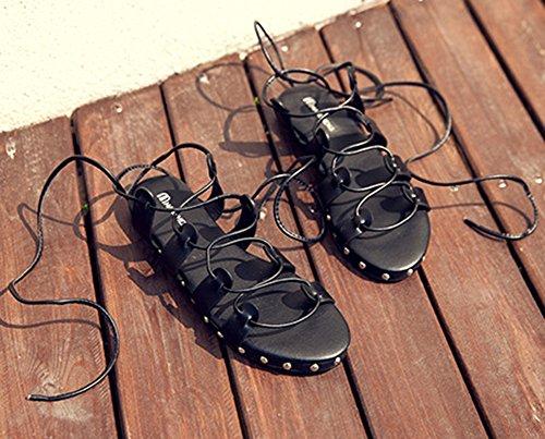 Aisun Femme Mode Bout Ouvert Rivets à Lacets Sandales Noir