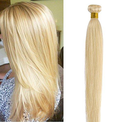 45cm extension capelli veri biondi matassa tessitura #613 biondo chiaro 100g/pack 100% remy human hair lisci umani
