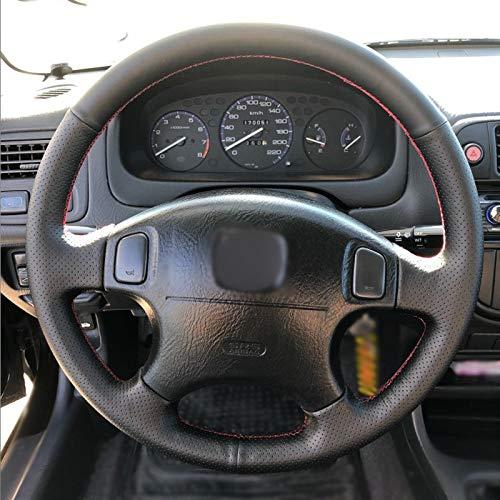 ckung Schwarzes Leder Auto Lenkradbezug, für Honda CRV CR-V 1997-2001 Accord 6 1998-2002 Odyssey 1998-2001-Leichter Faden ()