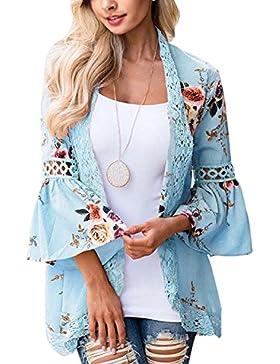 JunJunBag Cardigans de Las Mujeres de Las Mujeres Floral Cardigan Abierto suéter de Punto Cardigan para Mujer...