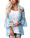 Kinikiss Womens Floral Loose Bell Sleeve Kimono Cardigan Lace Patchwork Cover up Blouse Top (Blue, 2XL)