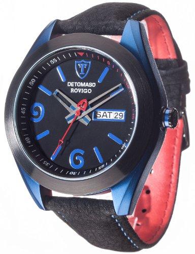 Detomaso-ROVIGO-Blue-Aluminium-Trend-DT2033-B-Reloj-analgico-de-cuarzo-para-hombre-correa-de-cuero-color-negro
