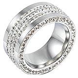 AmDxD Damen-Ringe Versilber Elegante Zirkonia Mit Hoch Poliert Bands Silber Frauen-Ring 57 (18.1)
