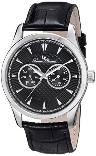 Lucien Piccard Men's Stellar 42mm Black Genuine Leather Band Steel Case Quartz Date Analog Watch 12761-01