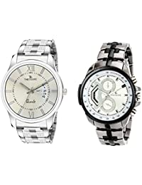 [Sponsored]THEODORE TDM0829 Premium Stainless Steel Chain & Premium Metal Chain Wrist Watch Combo Of 2 -For Men