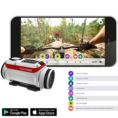 TomTom Bandit 4K HD Action Kamera + All You Need 32GB Zubehör Kit mit 32-GB-Karte + Case + Selfie Stick + Brust/Kopf Gurt + Auto/Fahrrad Halterung + Rucksack + Reise Ladegerät + mehr. - 2