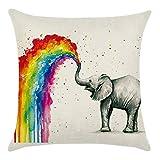 Blue Vessel Regenbogen Baumwoll Leinen Kissenbezug Sofa Throw Kissenbezug Home Decor (Elefant)