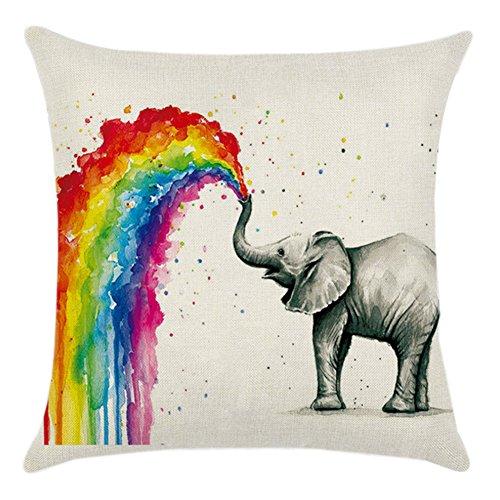 Blue Vessel Regenbogen Baumwoll Leinen Kissenbezug Sofa Throw Kissenbezug Home Decor (Elefant) -
