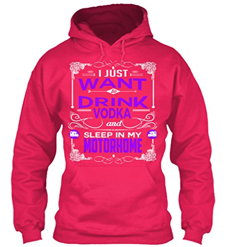 teespring Men's Novelty Slogan Hoodie – I Just Want To Drink Vodka and Sleep In My Motorhome