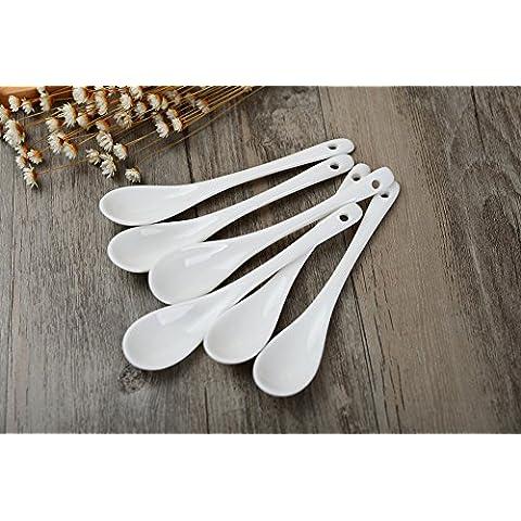 porlien blanco porcelana cucharas, cucharillas 12,5cm-Set de 6-for café, té, yogur, helado, aperitivos y postres, bien de tazas de café y tazas de té