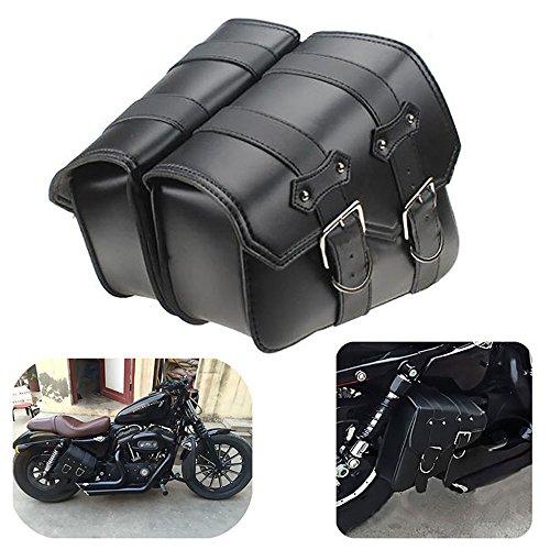1 Paar Motorrad Satteltaschen Leder Abnehmba Wasserdichte Schwarz Universal für Harley Motorrad Satteltasche Triangle Bag Kit