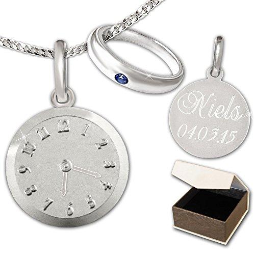 CLEVER-SCHMUCK-GRAVUR-SET-Silberner-Taufring-schlicht-mit-Safir-und-Anhnger-Uhr-sowie-Kette-STERLING-SILBER-925-mit-Etui