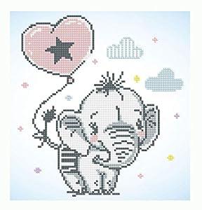 Pracht Creatives Hobby DD5-034 Diamond Dotz simpático Elefante, Brillante Imagen de Diamante para Personalizar, Aprox. 28 x 30 cm