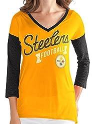 "Pittsburgh Steelers Women's G-III NFL ""Airtime"" Dual Blend 3/4 Sleeve T-shirt Chemise"