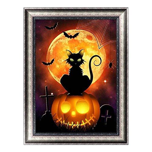 Blue Vessel Halloween-Katze Mit - Painting Halloween-kürbis