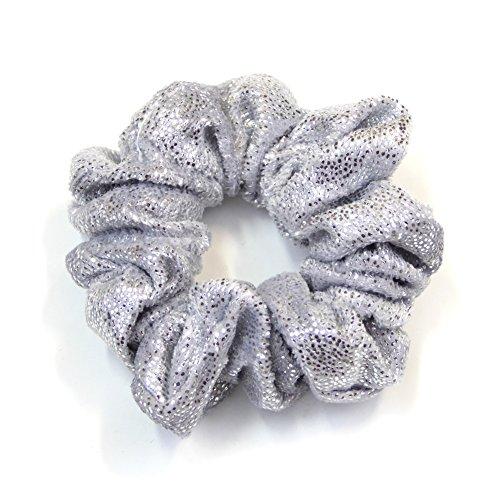 rougecaramel Haarschmuck Haargummi Haar aus Samt und Pailletten Silber