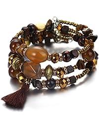 4b3155d5e9472 Freessom Bracelet Retro Homme Femme Bouddhiste Perle Pierre d Energie  Naturelle Turquoise Agate Diamant Boules