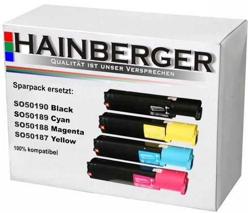 4x Toner für Epson C1100 S050187-90 1xBK 1x C,M,Y Rainbow-Kit je 6.000 S., kompatibel zu S050187-90 . Geeignet für Epson Aculaser C 1100 C 1100 N CX 11 N CX 11 NF CX 11 NFC - Firma Kit