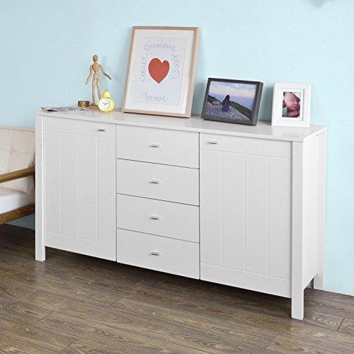 SoBuy® Mesa, Mesa estantería, taquillas, almacenadora, mesita de noche, mueble moderna, Blanco, FSB02-W, ES