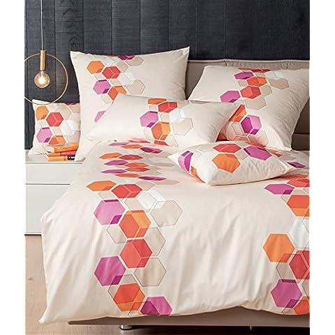Se recomienda combinar con una funda de almohada de satén mako de 40 x 80 cm De colour naranja coral Colour beige con forma de trapecio de patrones de colour