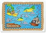 ArtUp.de 12 Einladungskarten zur Schatzsuche auf der Piratenparty | Einladung zum Kindergeburtstag | tolles Abenteuer-Motiv mit Schatzkarte und Schatzinsel für fröhliche Jungen und Mädchen