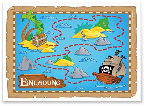 ArtUp.de 12 Einladungskarten zur Schatzsuche auf der Piratenparty   Einladung zum Kindergeburtstag   tolles Abenteuer-Motiv mit Schatzkarte und Schatzinsel für fröhliche Jungen und Mädchen (Echte Schatzkarte)
