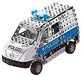 Tronico 10041 - Metallbaukasten Polizei Mercedes Benz Sprinter mit Licht und Sound, Maßstab 1:32, Mini Serie, blau, 508 Teile