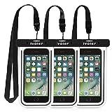 iVoler [Certifiée IPX8] Pochette Téléphone Étanche,[Lot de 3] Housse Coque Universel 6.2 Pouces Waterproof Case Bag Etui Safe Water Pouch avec pour iPhone, Samsung,Huawei,Wiko,Sony (Nior)