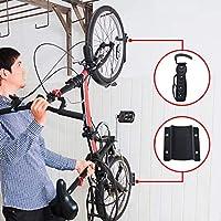 BYFIS Soporte para Colgar Bicicletas en la Pared. Colgador Vertical para Bici de hasta 30kg. Portabicicletas metálico con Gancho y Base Protectora. Fácil instalación, Accesorios incluidos.