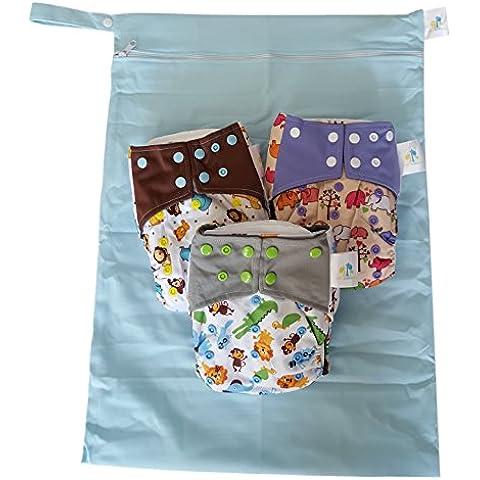 Bambungle pack - 3 pannolini lavabili in stoffa di bambù! In omaggio: la nostra fantastica wet bag extra large, la borsa lavabile per pannolini riutilizzabili