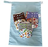 Bambungle pack - 3 pannolini lavabili in stoffa di bambù! In omaggio: la nostra fantastica wet bag extra large, la borsa lavabile per...