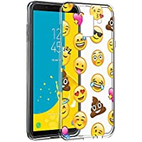 Eouine Funda Samsung Galaxy J6 2018, Cárcasa Silicona 3D Transparente con Dibujos Diseño Suave Gel TPU [Antigolpes] de Protector Fundas para Movil Samsung J6 2018-5,6 Pulgadas (Emoji)