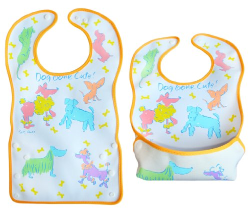 BOMIO | großes Lätzchen mit faltbarer Auffangschale | für Babys und Kleinkinder | wasserabweisend und leicht abwaschbar | kindgerechte Tiermotive | geprüft nach EN 71 | Hunde (Kleine Meerjungfrau Outfits Für Kleinkinder)